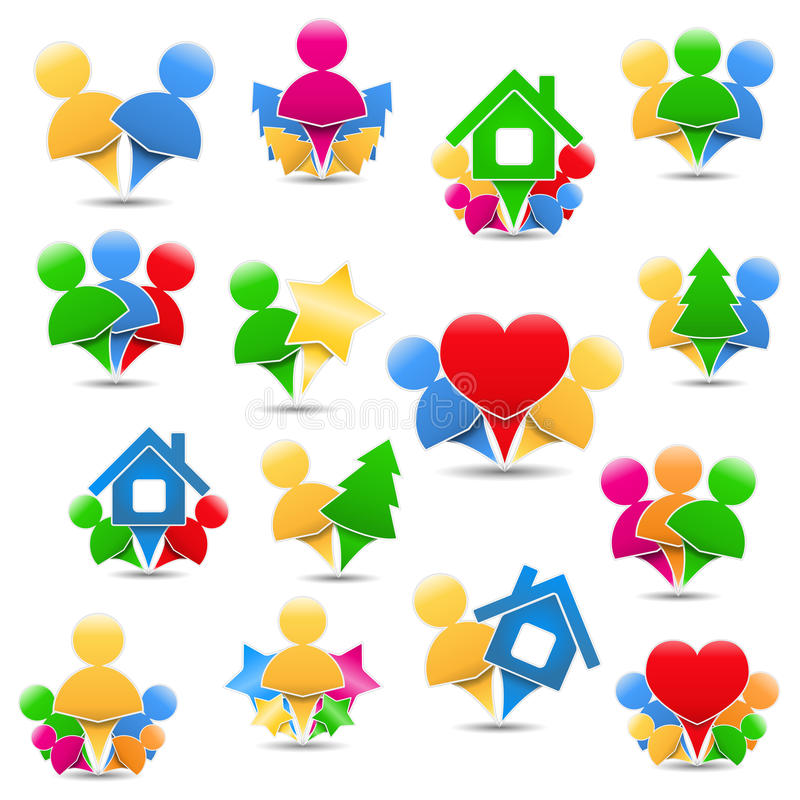 Download Icons with humans stock vector. Image of marker, concept - 27583002