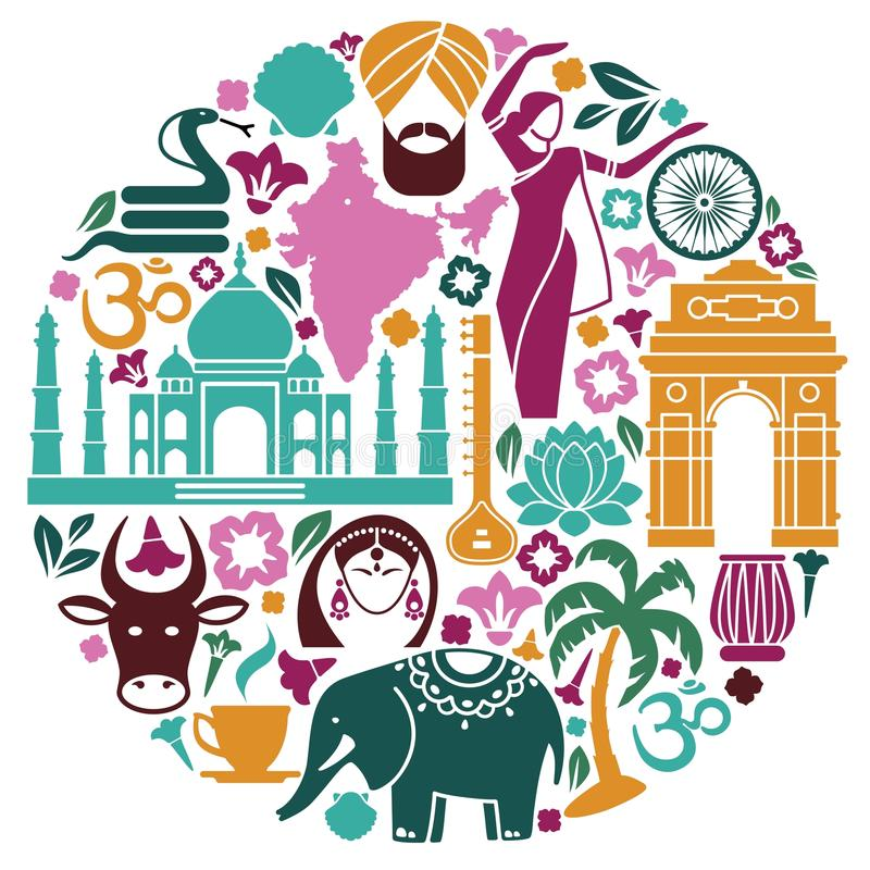 Icons of India in the form of a circle. Traditional symbols of India in the form of a circle royalty free illustration