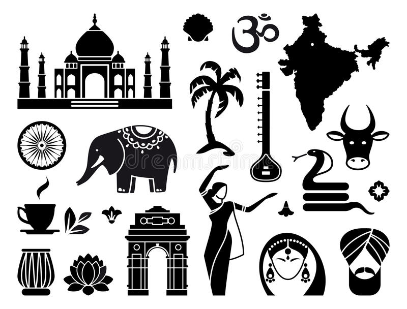 Download Icons of India stock vector. Image of drum, lotus, palace - 41791949