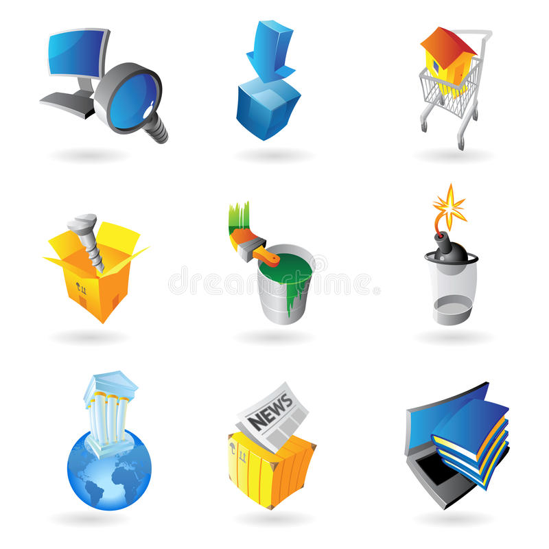 Icons for industry stock illustration