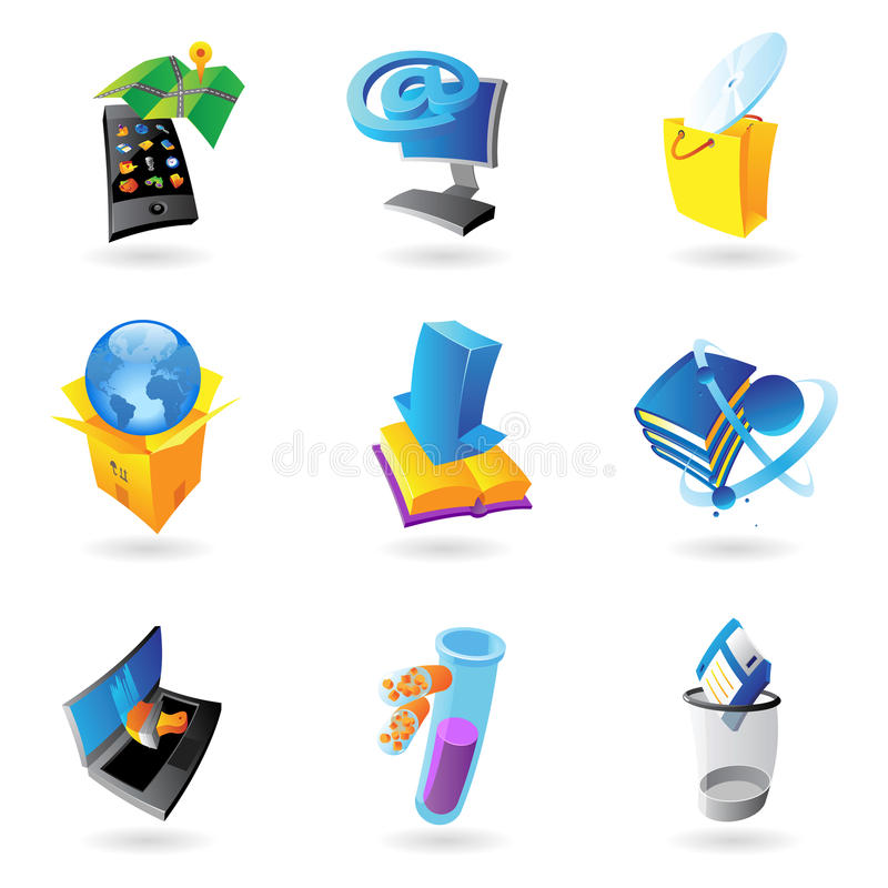 Icons for industry and ecology. Vector illustration royalty free illustration