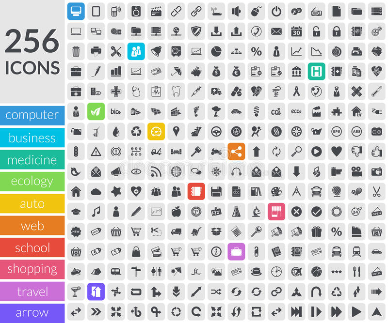 Download Icons Inside Rounded Squares Stock Vector - Image: 33672665