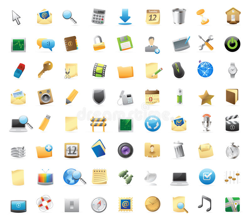 Icons for interface. 72 detailed vector icons for signs and interface symbols stock illustration