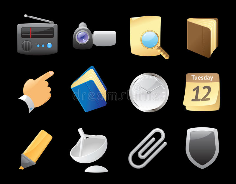 Download Icons for interface stock vector. Illustration of search - 26992529