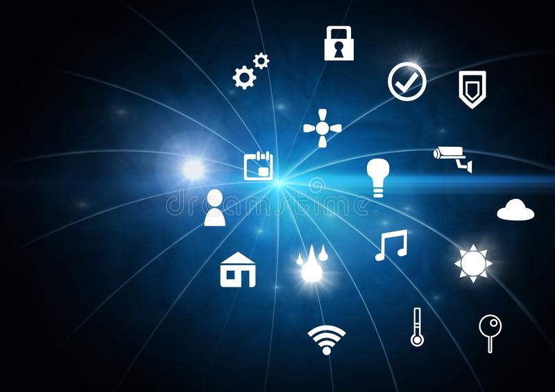 Icons interface of Internet Of Things over blue background royalty free illustration