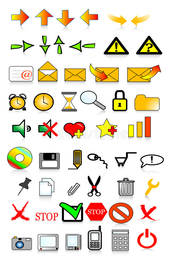 Icons internet. Various web icons with internet theme stock illustration