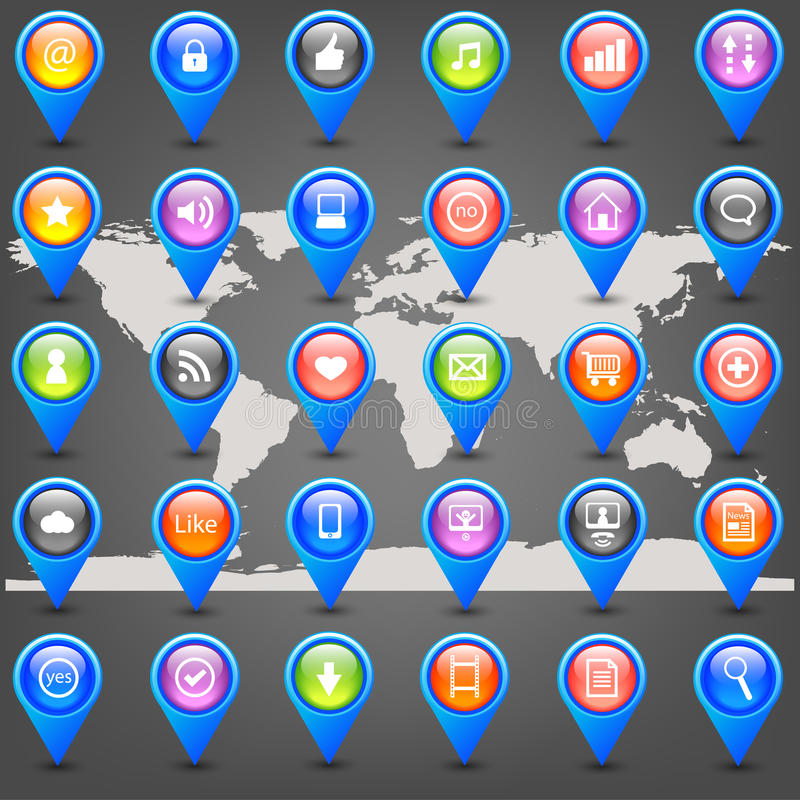 Icons With Internet Elements Stock Photo