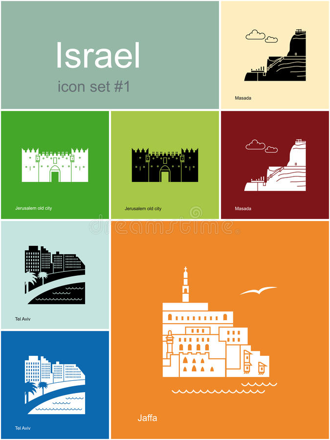 Icons of Israel. Landmarks of Israel. Set of color icons in Metro style. Editable vector illustration vector illustration