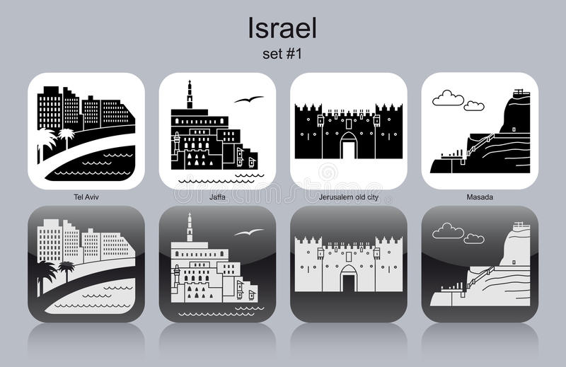 Icons of Israel. Landmarks of Israel. Set of monochrome icons. Editable vector illustration vector illustration