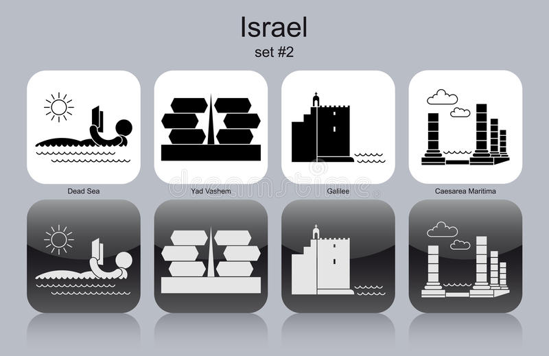 Icons of Israel. Landmarks of Israel. Set of monochrome icons. Editable vector illustration royalty free illustration