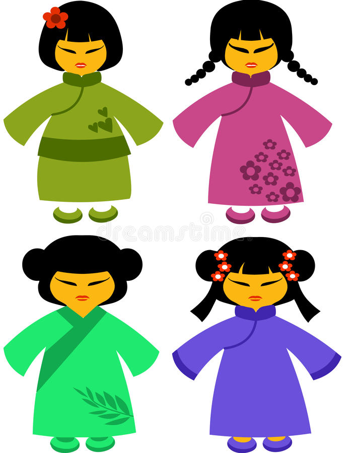 Download Icons Of Japanese Dolls In Traditional Dresses -2 Stock Vector - Image: 14857660
