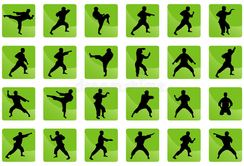 Icons of karate on the green. Set of black silhouettes of the person on a green background in style in karate great for your design. All icons organized in stock illustration