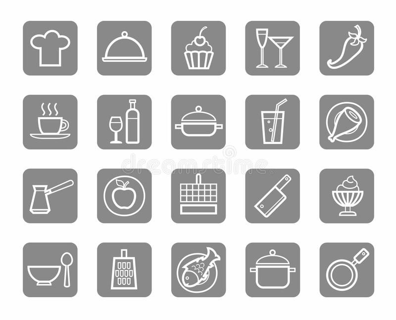 Icons, kitchen, food, drinks, restaurant, white outline, grey background. White, contour icons on the topic of cooking. Restaurant and home cooking. White on a royalty free illustration