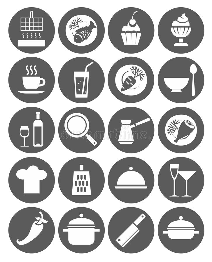 Icons kitchen, restaurant, cafe, food, drinks, utensils, monochrome, flat. Monochrome, flat icons with images of kitchen utensils, restaurant meals and drinks royalty free illustration
