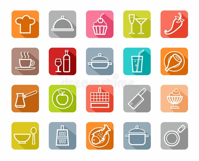 Icons, kitchen, restaurant, food, beverages, white outline, colored background, shadow. stock illustration