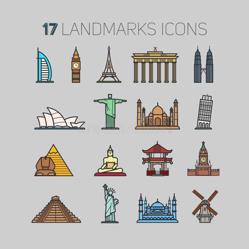 icons landmarks vector illustration