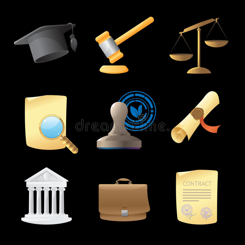 Icons for law royalty free illustration