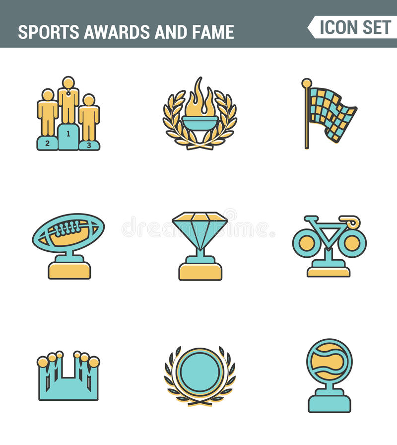 Icons line set premium quality of awards and fame emblem sport victory honor. Modern pictogram collection flat design style symbol vector illustration