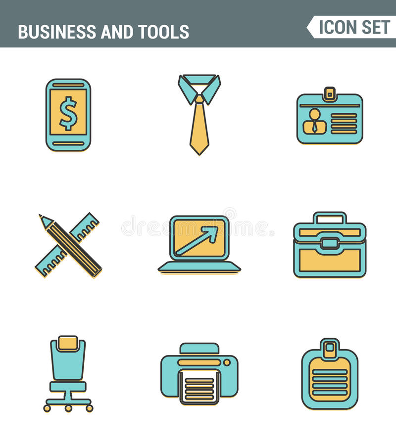 Icons line set premium quality of basic business essential tools, office equipment. Modern pictogram collection flat design stock illustration