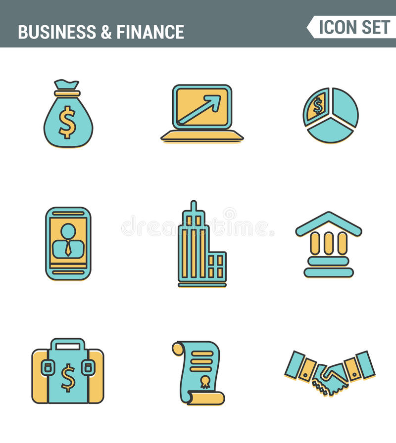 Icons line set premium quality of business economic development, financial growth. Modern pictogram collection flat design style. stock illustration