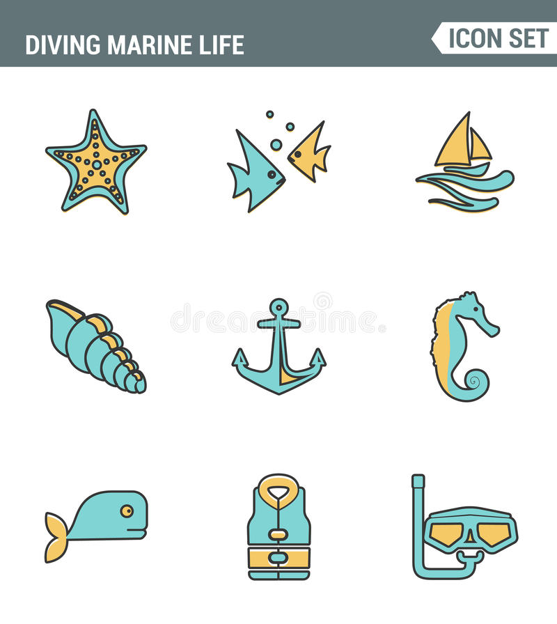 Icons line set premium quality of diving marine life activity sea tropical summer diver equipment. Modern pictogram collection vector illustration