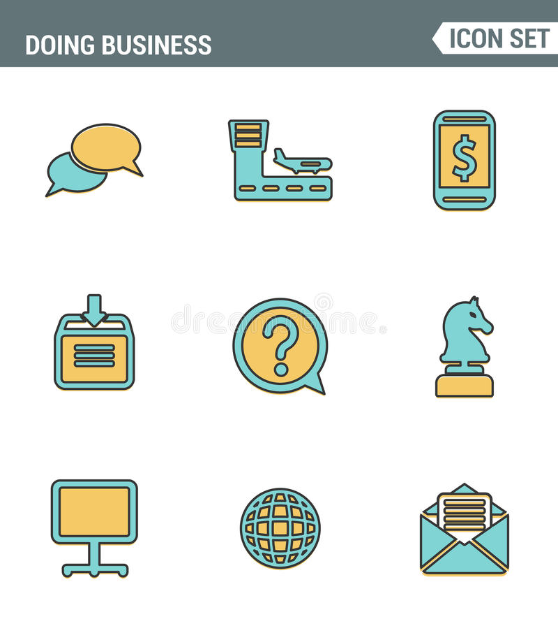 Icons line set premium quality of doing business using technology and communication. Modern pictogram collection flat design style vector illustration