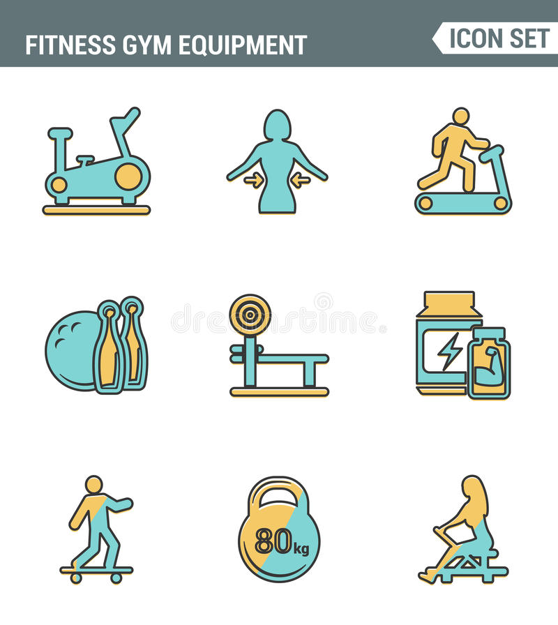 Icons line set premium quality of fitness gym equipment, sports recreation activity. Modern pictogram collection flat design vector illustration