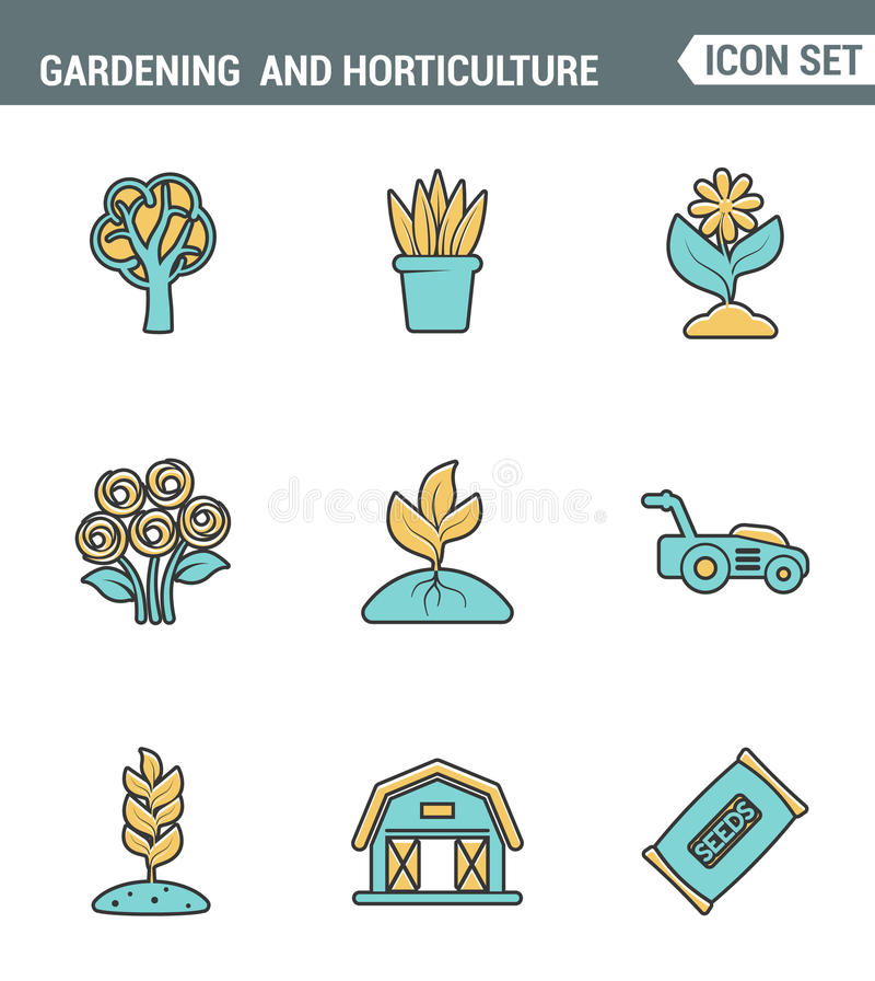 Icons line set premium quality of gardening and horticulture seeds flower floral flora. Modern pictogram collection flat design stock illustration