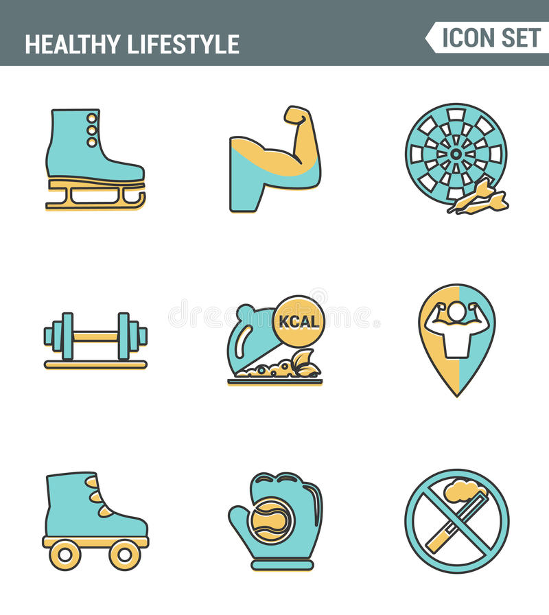 Icons line set premium quality of healthy lifestyle icon collection gym rollers baseball fitness sport. Modern pictogram flat stock illustration