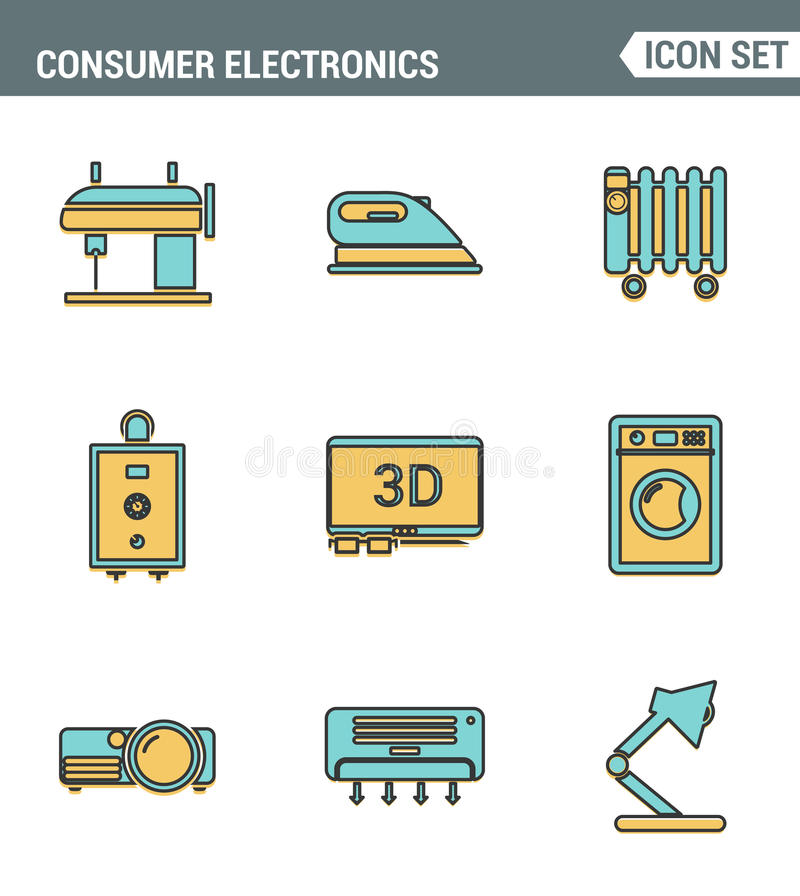 Icons line set premium quality of home appliances, household consumer electronics. Modern pictogram collection flat design style vector illustration
