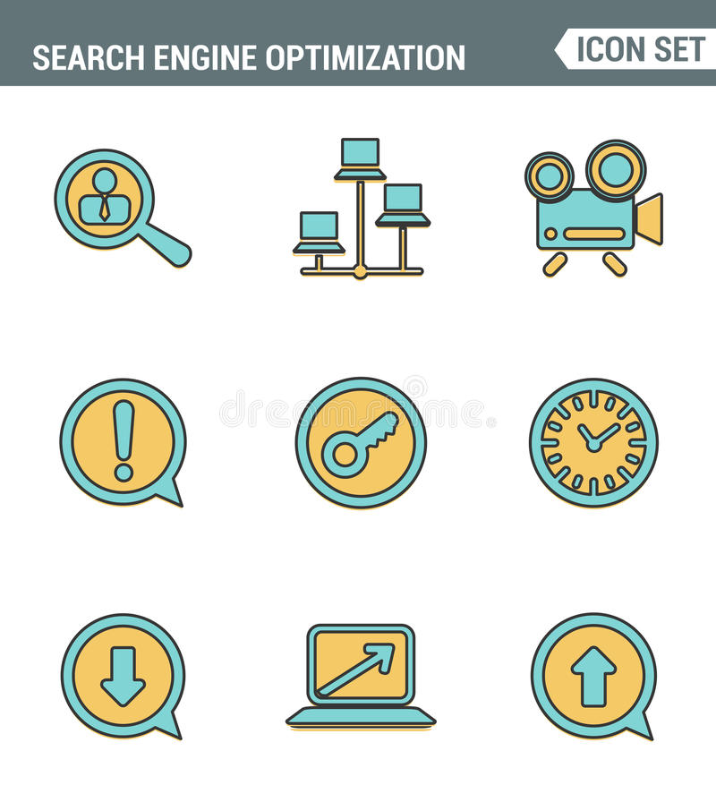 Icons line set premium quality of search engine optimization tools for growth traffic. Modern pictogram collection flat design. Style symbol . white background royalty free illustration