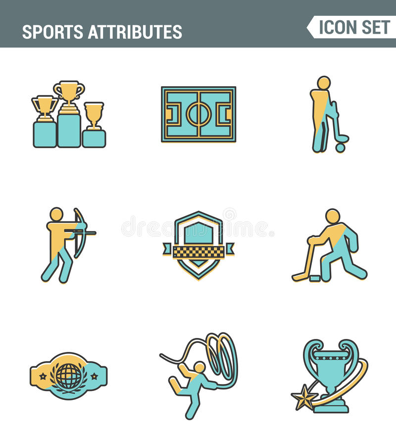 Icons line set premium quality of sports attributes, fans support, club emblem. Modern pictogram collection flat design style stock illustration