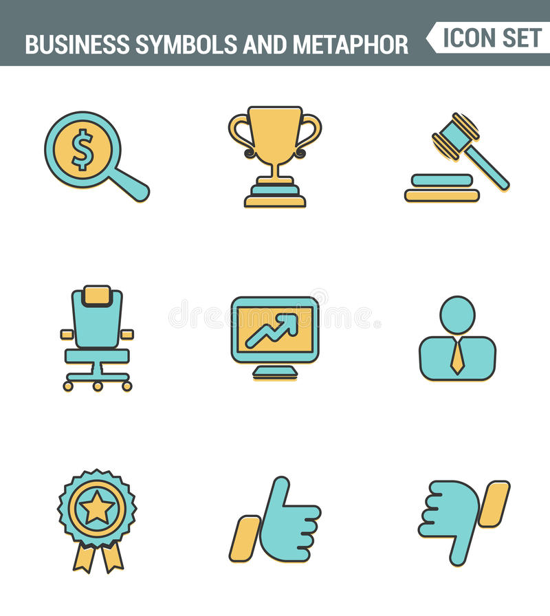 Icons line set premium quality of various business symbols and metaphor elements. Modern pictogram collection flat design style. White background vector illustration