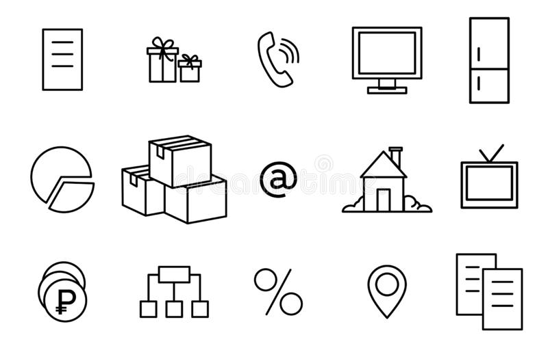 Icons linear. Home, phone, delivery, TV, document. Black line icons. Thin linear signs for business. Home, phone, delivery, TV document vector illustration