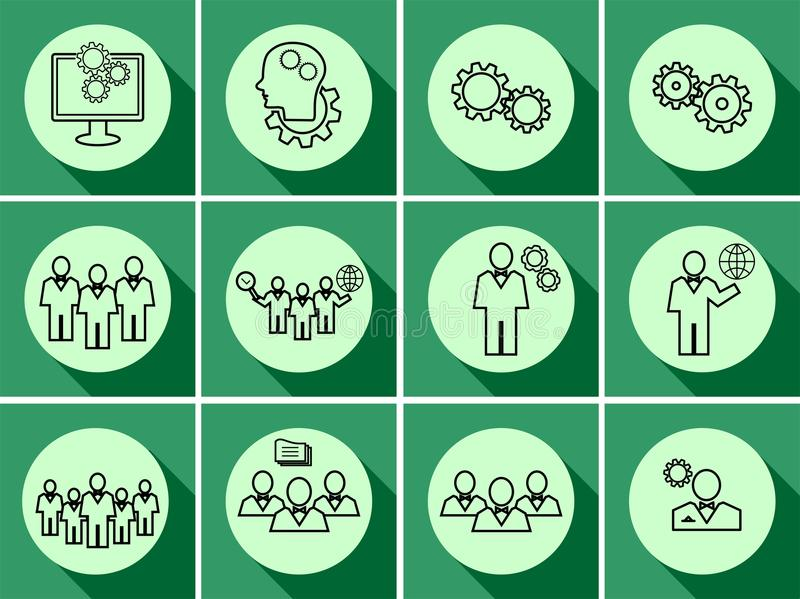 icons llll Данные, время или управление людей иллюстрация вектора
