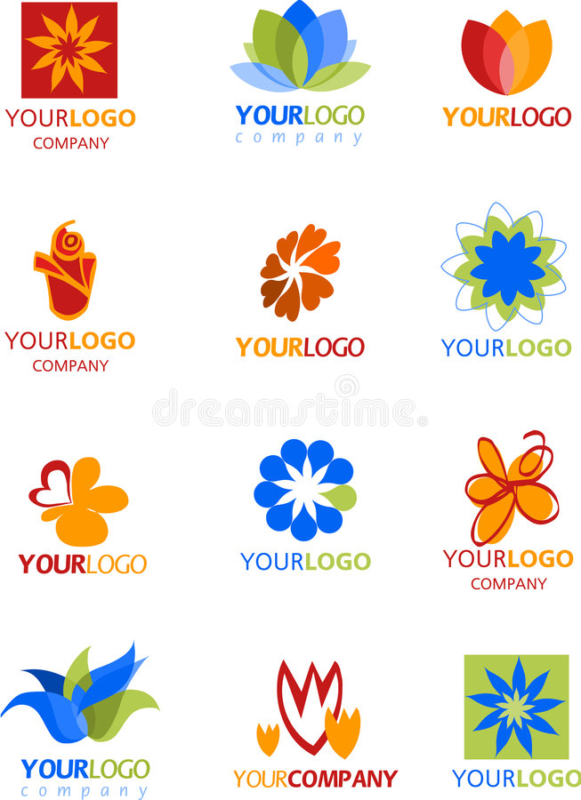 Icons and logos of flowers royalty free stock photography