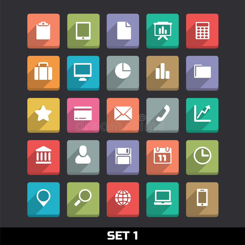 Icons With Long Shadow Set 1 vector illustration