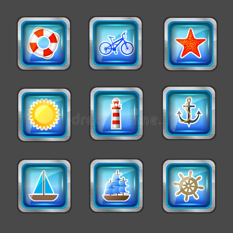 Download Icons with marine elements stock vector. Image of nature - 24860994