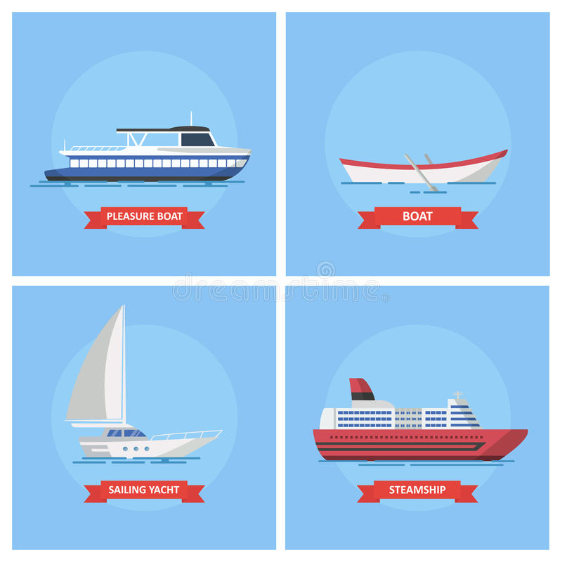 Icons marine ships and boats in a flat style. royalty free illustration