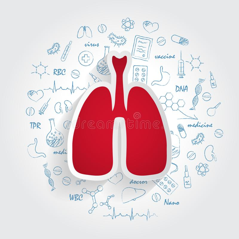 Icons For Medical Specialties. Pulmonology And Lungs Concept. Vector Illustration With Hand Drawn Medicine Doodle. royalty free illustration