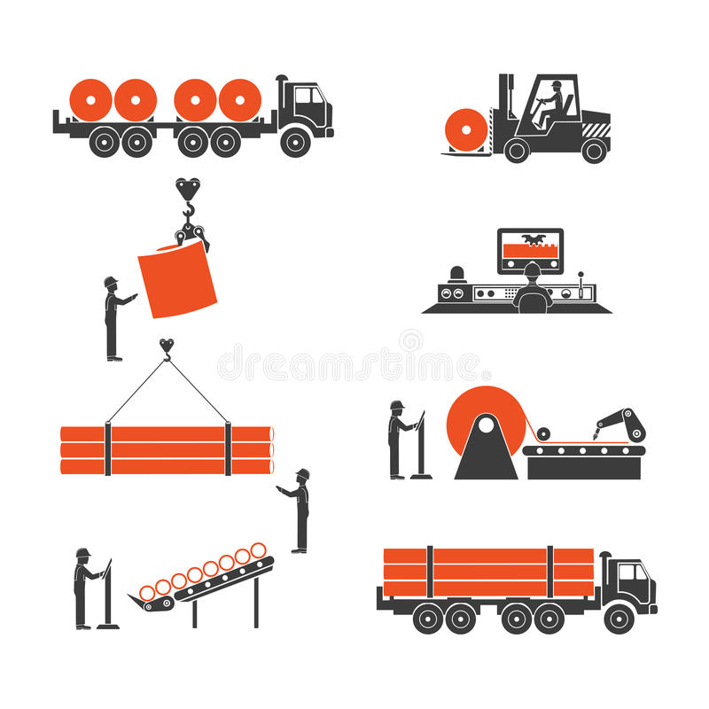 Icons metallurgy production of pipes vector illustration