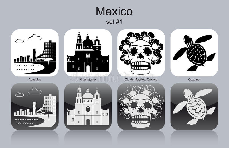 Icons of Mexico stock illustration