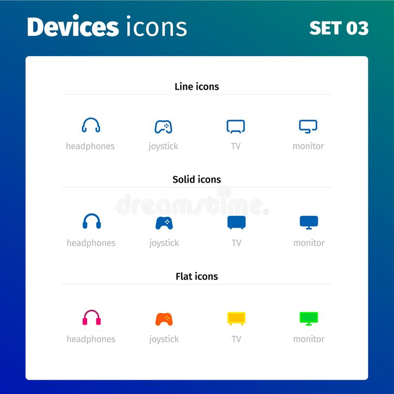 Icons of modern devices and electronics vector illustration