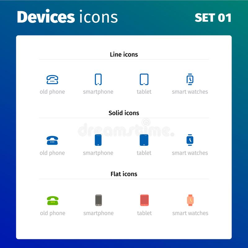 Icons of modern devices and electronics stock illustration