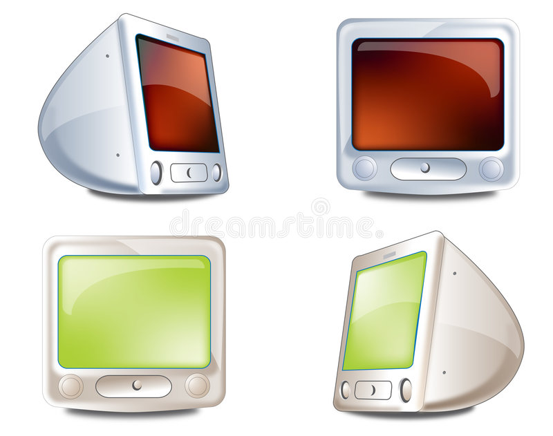 Icons monitor. Monitor, personal computer with crt monitor royalty free illustration
