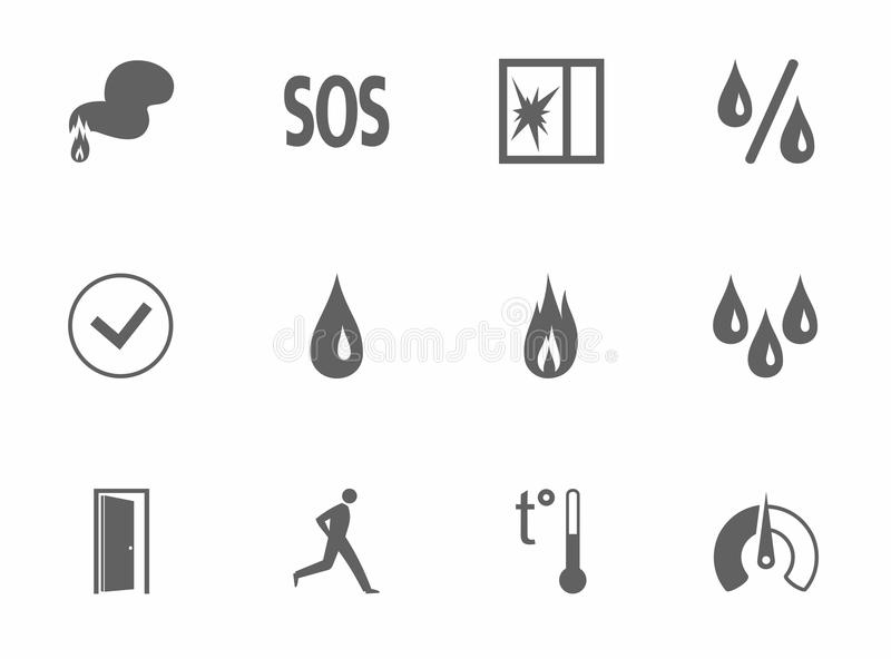 Icons monochrome. Vector dark gray image on a white background. Pictures for the sensors royalty free illustration
