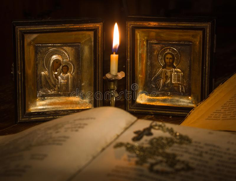 Icons of the Mother of God and Jesus Christ royalty free stock photography