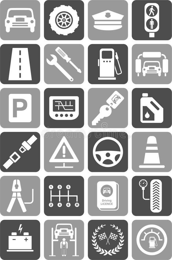 Icons of motor vehicles, traffic & mechanical vector illustration