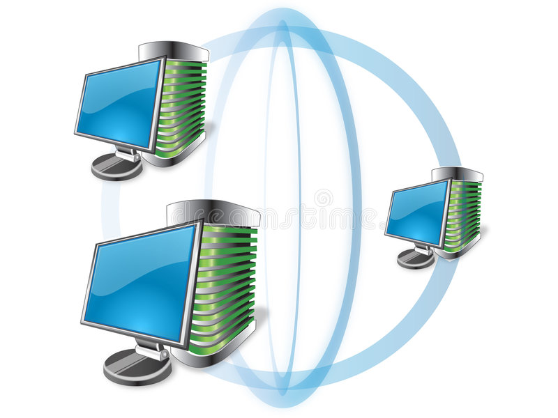 Icons network. Network personal computer with crt monitor vector illustration