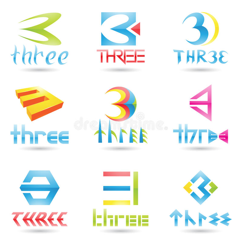 Download Icons for Number 3 stock vector. Image of geometrical - 22052128